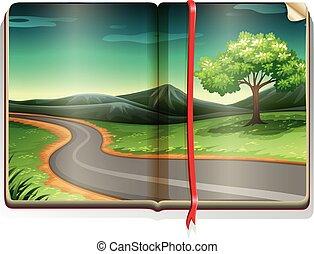 campagne, long, livre, scène, route