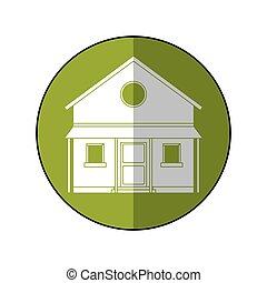 campagne, maison, cercle, vert, familiy