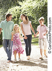 campagne, marche, famille, ensemble