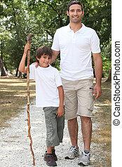 campagne, marche, père, fils