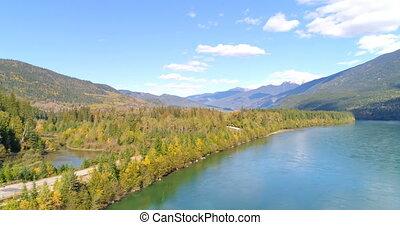 campagne, montagne, rivière, scénique, 4k