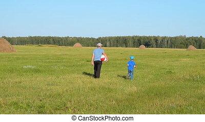 campagne, petit-enfant, grandad