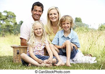 campagne, pique-nique, avoir, famille