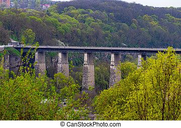 campagne, pont, sur, rivière, vieux