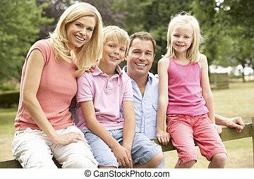 campagne, portrait, barrière, famille, séance
