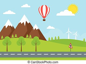campagne, route, illustration