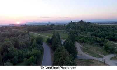 campagne, toscane, été, saison