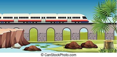 campagne, train, moderne