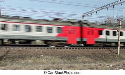campagne, train passager, banlieusard