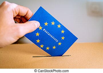 campagne, union, -, hashtag, thistimeimvoting, estavezvoto, version, élection, espagnol, européen