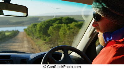 campagne, voiture, homme, 4k, conduite