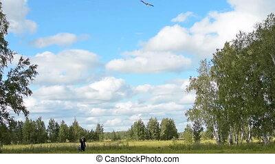 campagne, voler, petit-fils, grandad, cerf volant