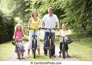 campagne, voyager vélos, famille