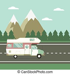 campagne, voyageur, camion, route, paysage