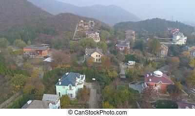 campagne, vue, coûteux, aérien, beijing, villas, banlieue