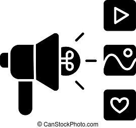 Campaign black glyph icon