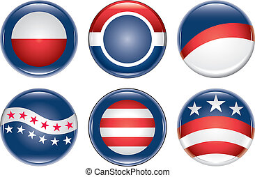 Illustration of six blank United States election campaign buttons