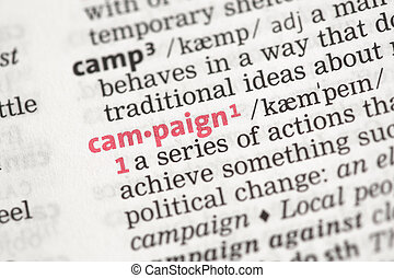 Campaign definition in the dictionary