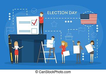 campaign., gens, vote, candidat, élection