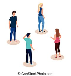 campaign of social distancing for covid 19 with people vector illustration design