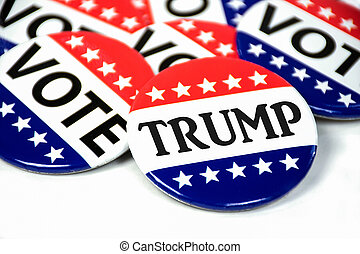 close up of patriotic campaign vote button for Trump on white
