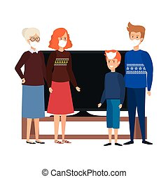 campaign stay at home with family using face mask watching tv vector illustration design