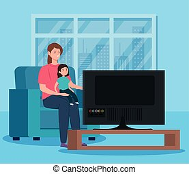 campaign stay at home with mother and daughter watching tv vector illustration design