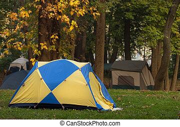 campamento, en, el, otoño