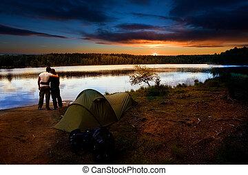 campamento, lago, ocaso