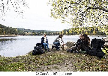 campamento, lakeside, mirar, preparando, amigos, hoguera, ...