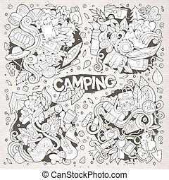 campamento, naturaleza, símbolos, y, objetos