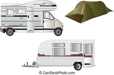 campamento, y, caravanas