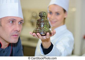 campana, chef, due, cioccolato, pasta, ritratto