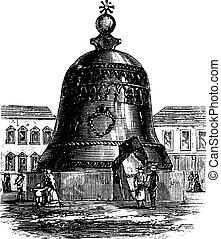 campana, grabado, campana, vendimia, federación, real, moscú, zar, tsarsky, ruso, kolokol, iii, o
