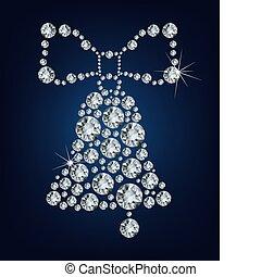 campana, hecho, navidad, diamantes
