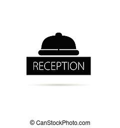 campana, vector, recepción, ilustración, icono
