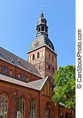 campanario, (1211), cúpula, letonia, riga, catedral