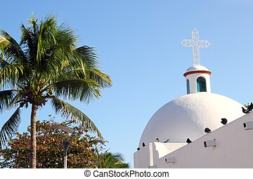 campanario, del, playa, iglesia, mexicano, blanco, carmen,...