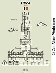 campanario, en, brugge, belgium., señal, icono