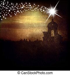 campanario, estrella, belén, tarjeta, navidad