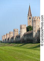 campanario, medieval, -, italy), veneto, montagnana, paredes...