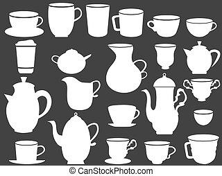 campanelle, caffè tè, bianco, silhouette