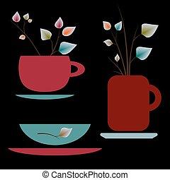 campanelle, insieme tè, colorito