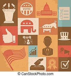 campanha, ícones, set., político, ilustração, vetorial, retro, eleição