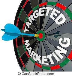 campanha, alvejado, marketing, dartboard, dardo, sucedido