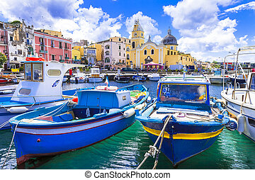 campanie, procida, île, italie, coloré