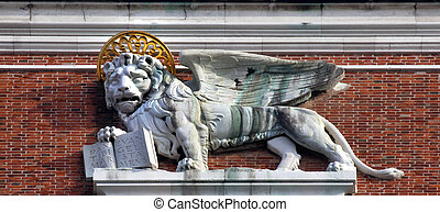 Campanile Bell Tower Saint Mark\'s Lion Statue Venice Italy