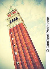 Campanile on San Marco square in Venice, Italy. Retro style ...