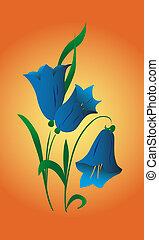 Campanula - Bouquet of meadow, dark blue, decorative hand...