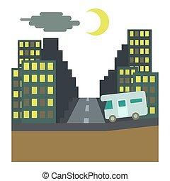 campare, ritt, om natten, in, stad, begrepp, lägenhet, stil